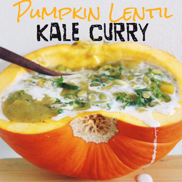 Incredible Pumpkin Lentil Kale Curry via RunLikeKale